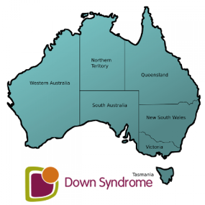 A map of Australia and the Down syndrome Australia logo