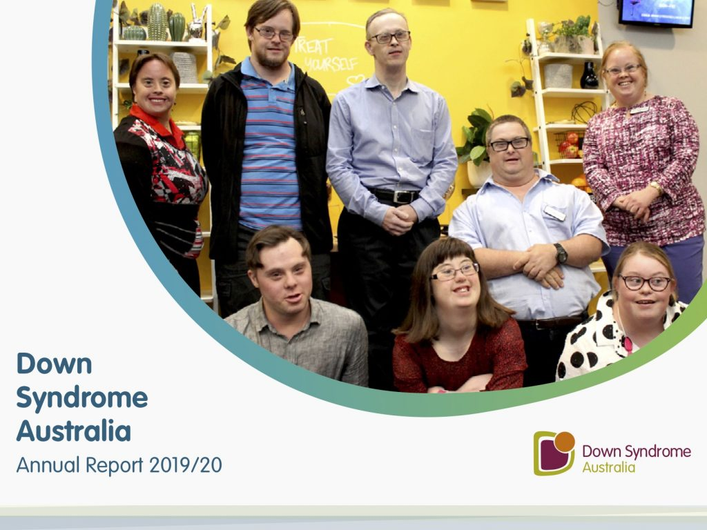 Down syndrome Australia Annual Report cover for 2019-2020