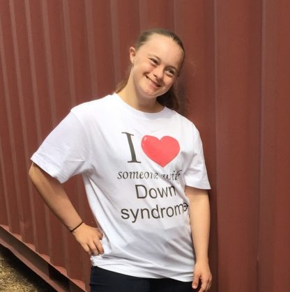 I love someone with down syndrome t-shirt.