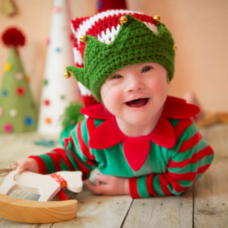 Baby dressed up as an elf