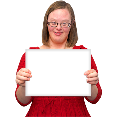 A woman holds up a white sign