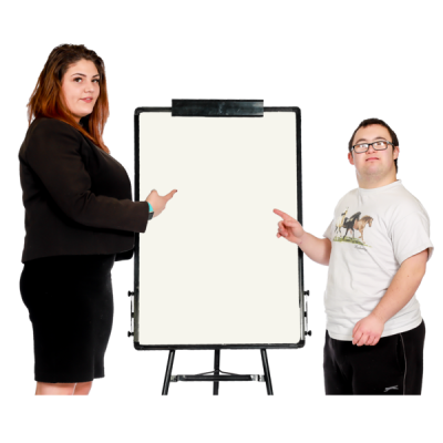 A man and a woman next to a flip chart