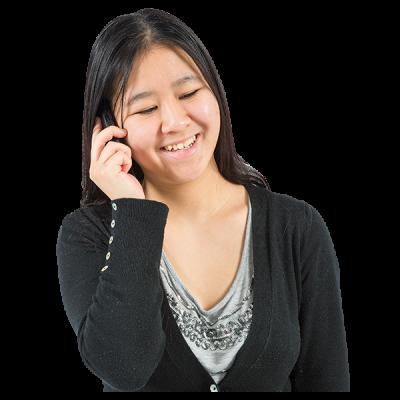 A woman talks on the phone