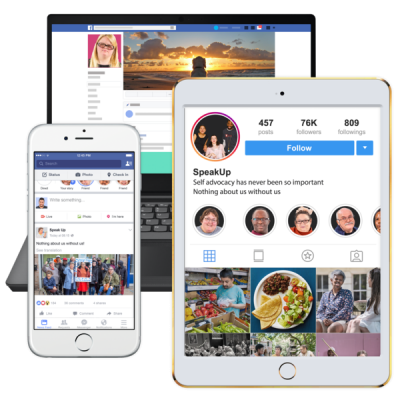 Tablets and phone screens with social media icons