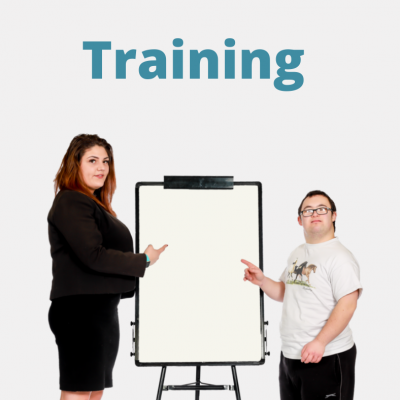 A man and a woman presenting a workshop