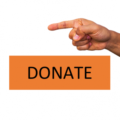 A hand points to a sign saying donate