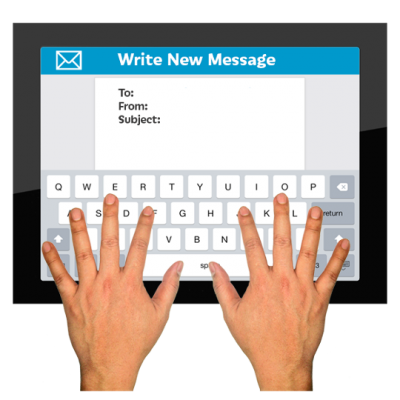 Hands on a keyboard writing an email