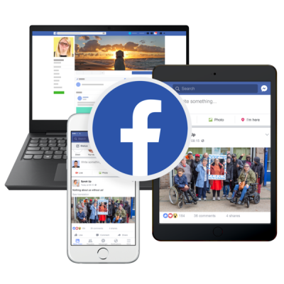 Tablet, phone and computer screens with a Facebook logo