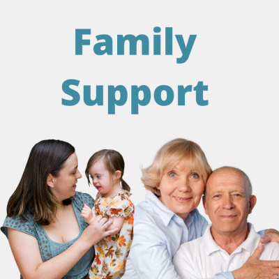 Images of family members and the words family support