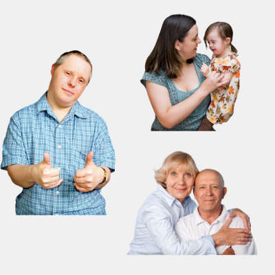 A man with thumbs up next to pictures of family members