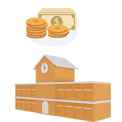 A school building an an amount of money for funding