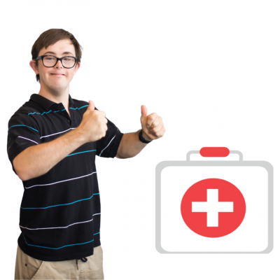 A man holds thumbs up next to a health icon