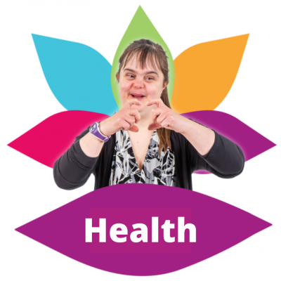 A woman makes a heart sign and the word 'health'