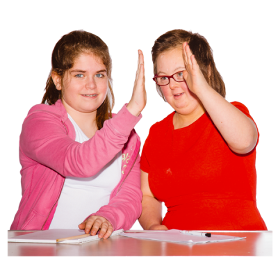 Two girls give each other a high five