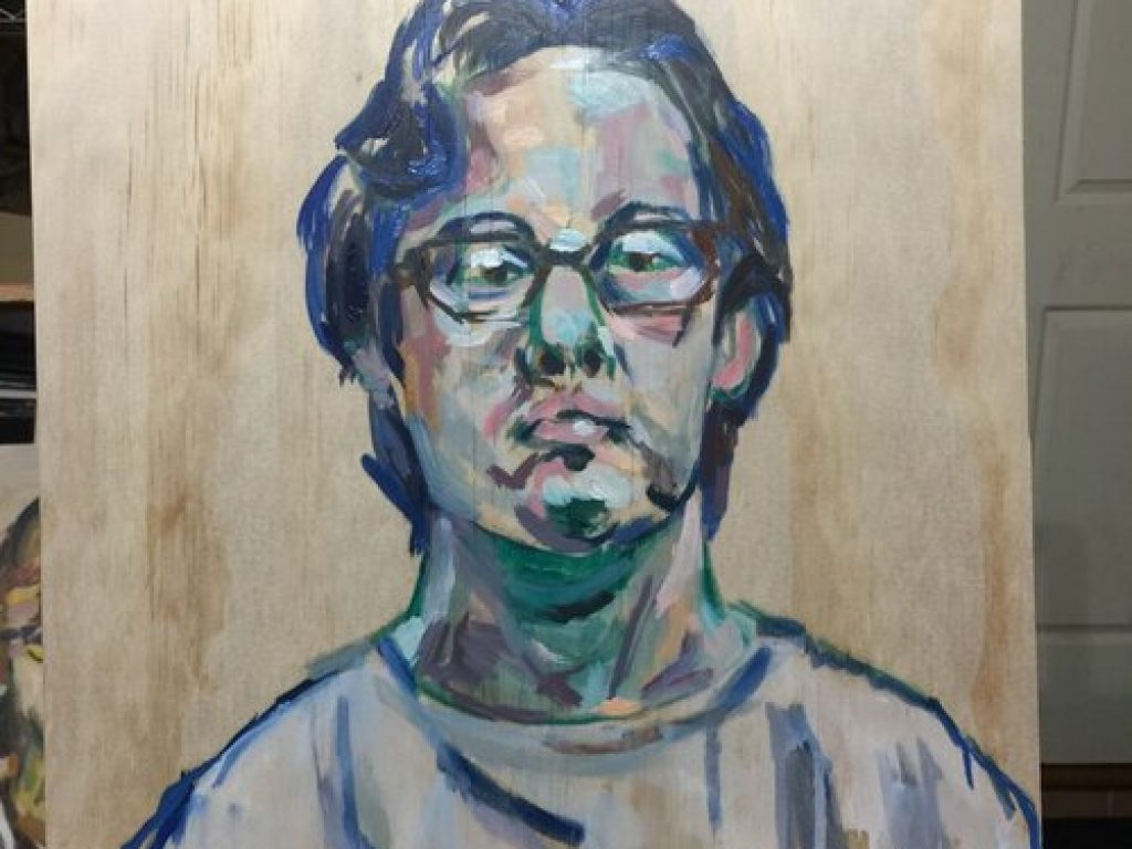 A painting of Nathan on wood