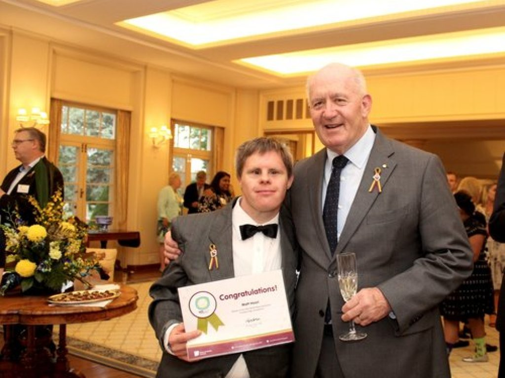 Peter Cosgrove and Ruth Faragher celebrating