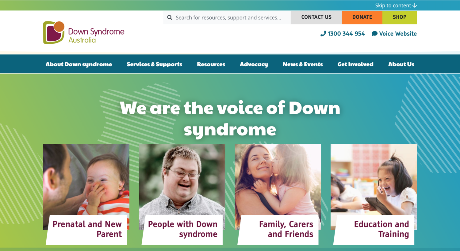 Down syndrome Australia website home page
