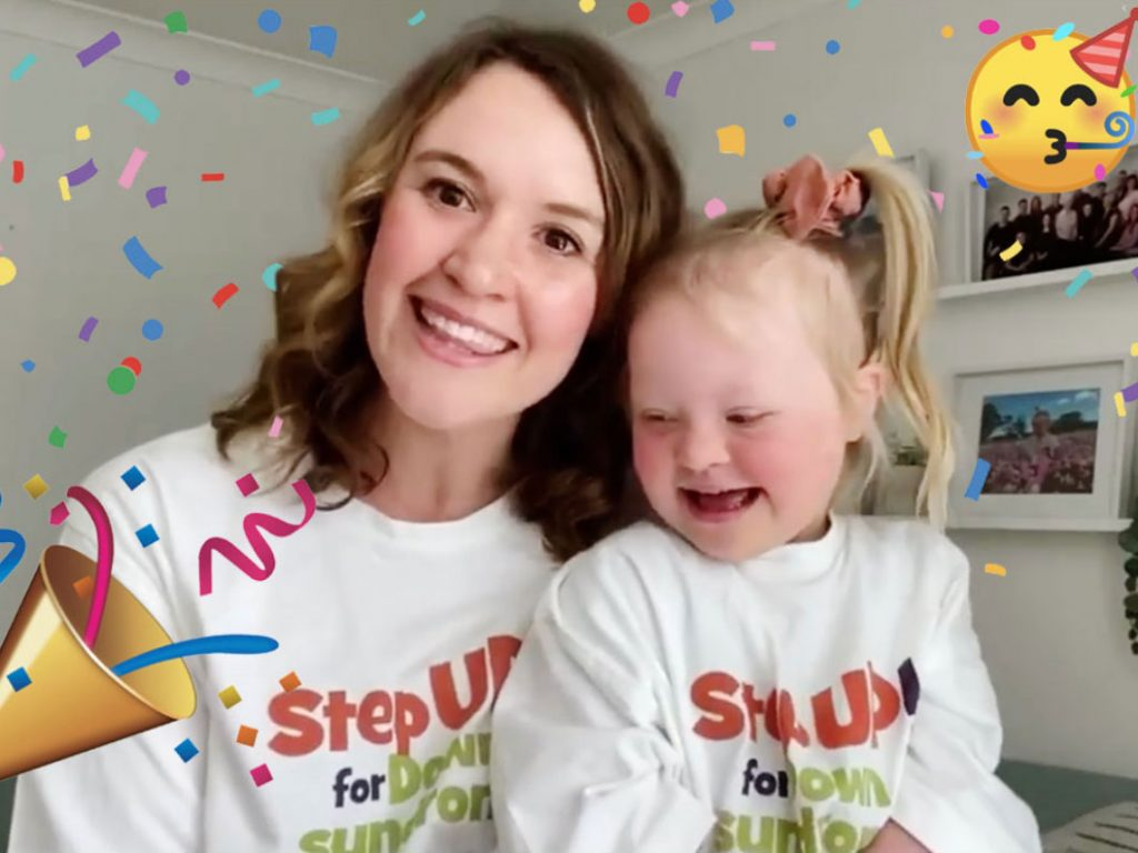 Mum and child celebrating Step UP! for Downs syndrome month.