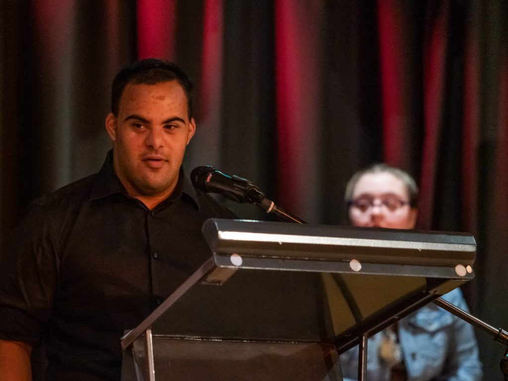 man giving a speech at the aldersonawards in the Australian Capital Territory