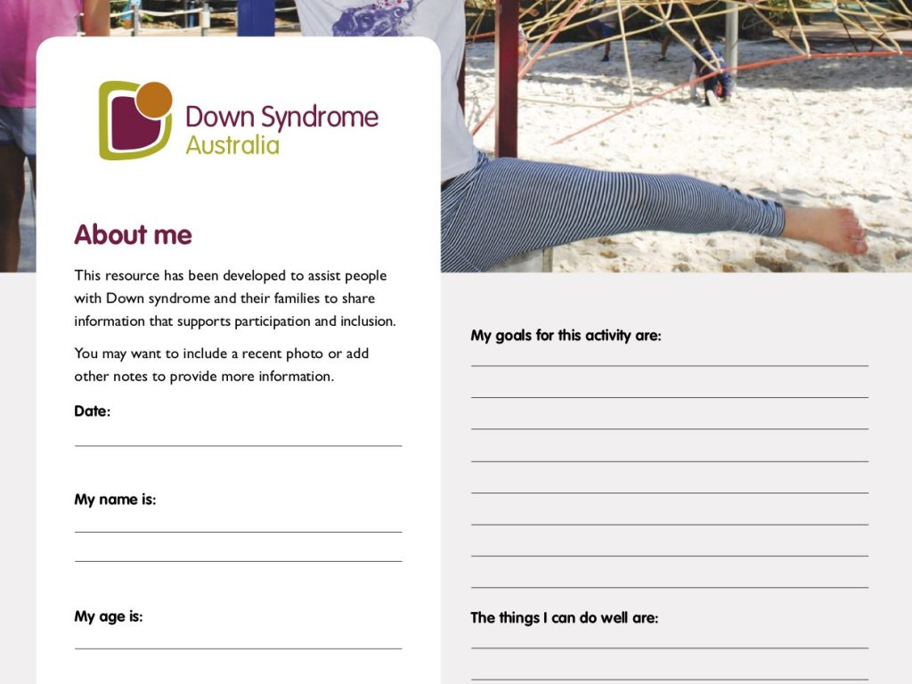 About me – a template for people with Down syndrome and families to provide relevant information to support inclusion