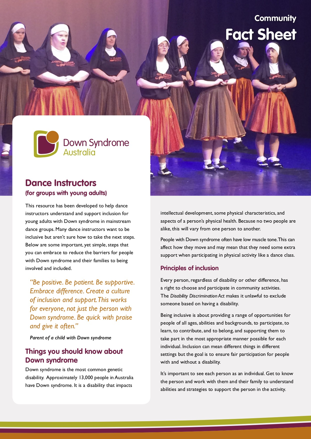 Fact sheet – Dance instructors – for young adults