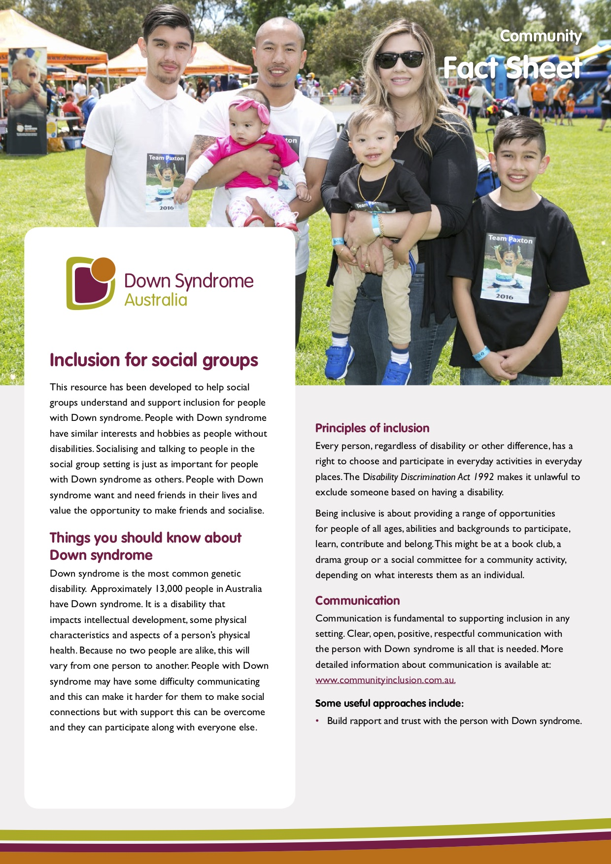 Fact sheet – Inclusion for social groups