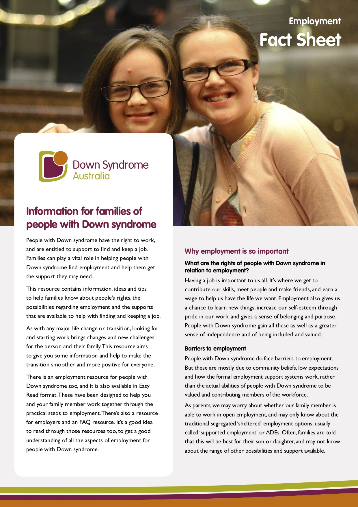 DSA employment Information for Families of people with Down syndrome cover