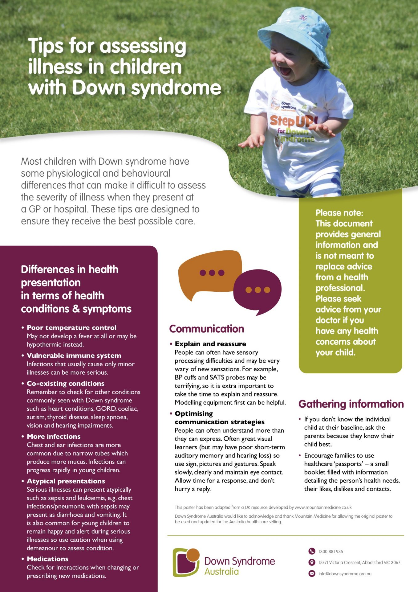 DSA tips for assessing children with Down syndrome poster