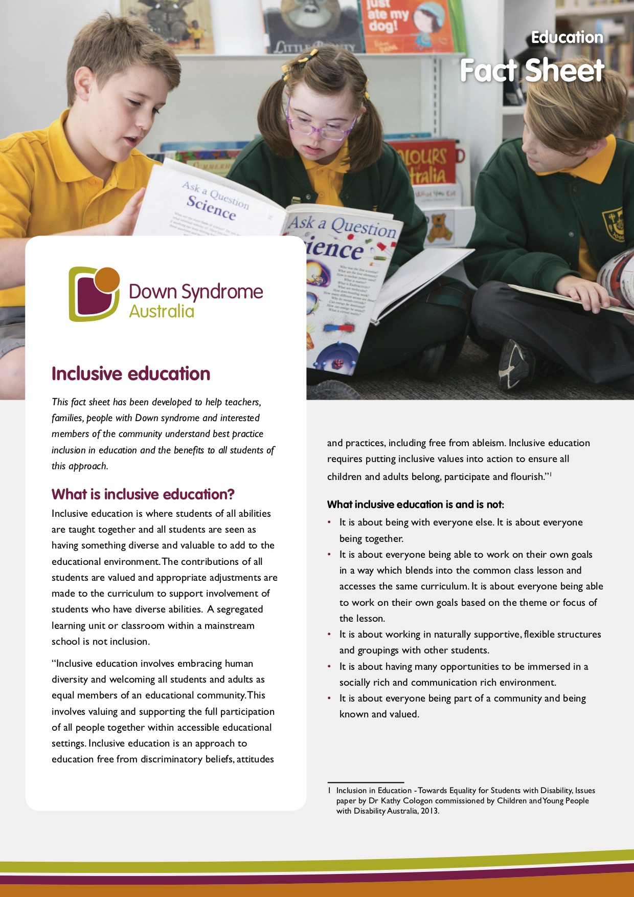 DSA what is inclusive education cover