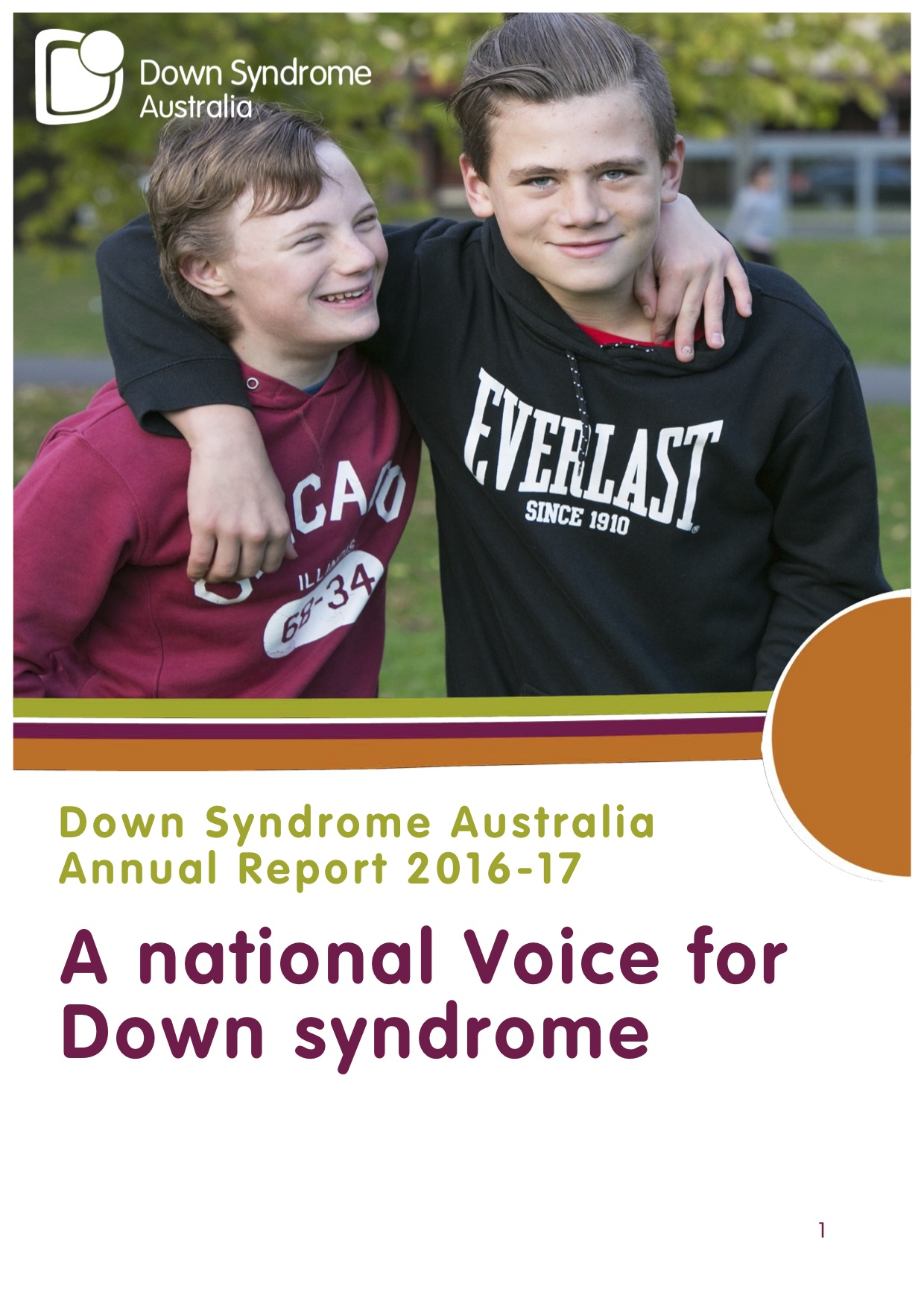 Down Syndrome Australia Annual Report 2017 Cover
