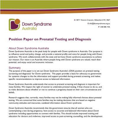 Position statement on prenatal screening