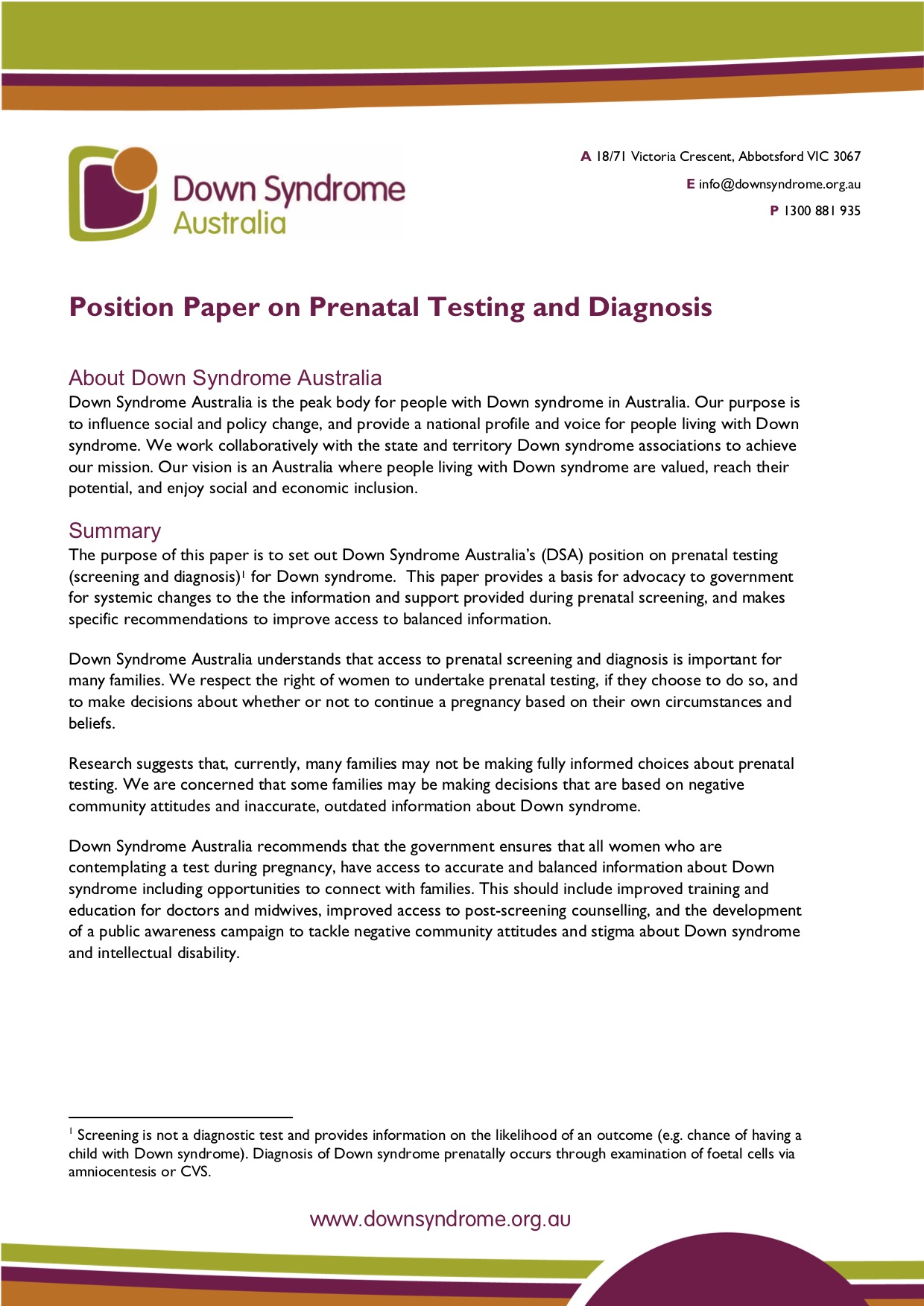 Position on Prenatal Testing (Easy Read) icon