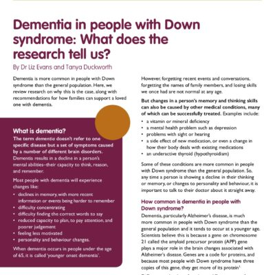 Dementia in people with Down syndrome: What does the research tell us? (Voice Article)
