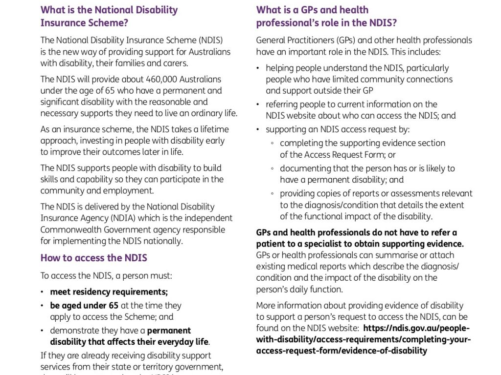 A GP's and Allied Health Professional's guide to the NDIS