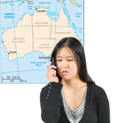 A woman seeks information over the telephone