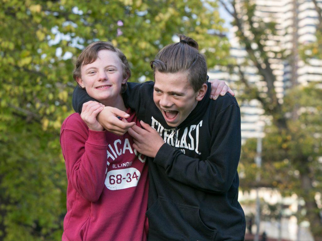 two teen boys bonding