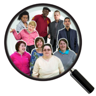 A group of people together is seen with magnifying glass