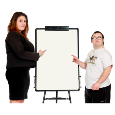 A man and woman stand next to a white board