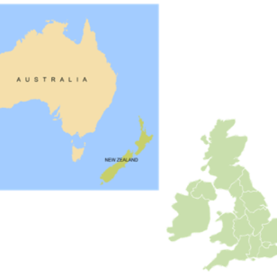 Map of Australia and a map of the uk