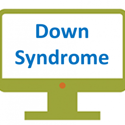 A graphic shows a computer screen with the words Down syndrome