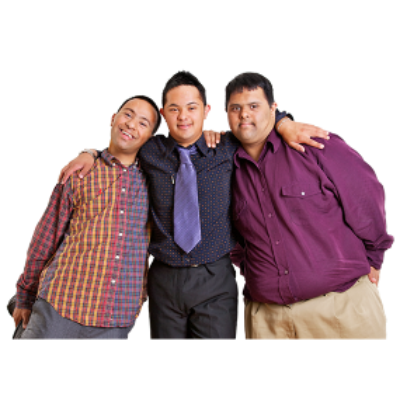 Three young men with Down syndrome stand together