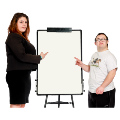 Two people stand next to a white board