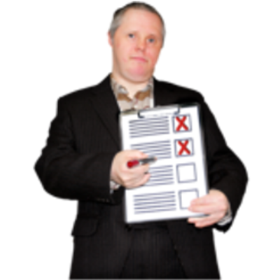 A man holds a checklist with red crosses on the items
