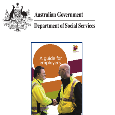 The Australian government logo and the cover of A Guide for Employers