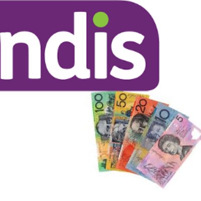 The NDIS sign and a pile of money
