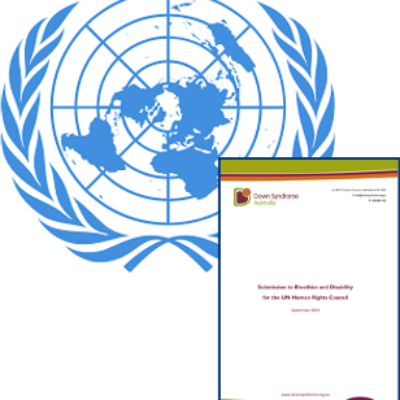 The United Nations logo and an image of a letter