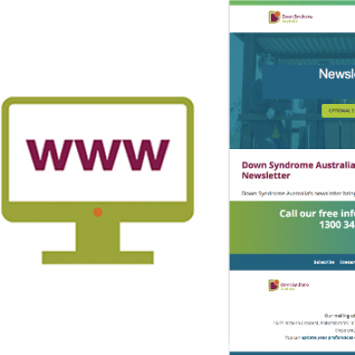 A graphic of a computer signifying the website, and the Down syndrome newsletter