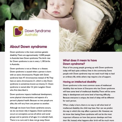 About Down Syndrome – Fact Sheet