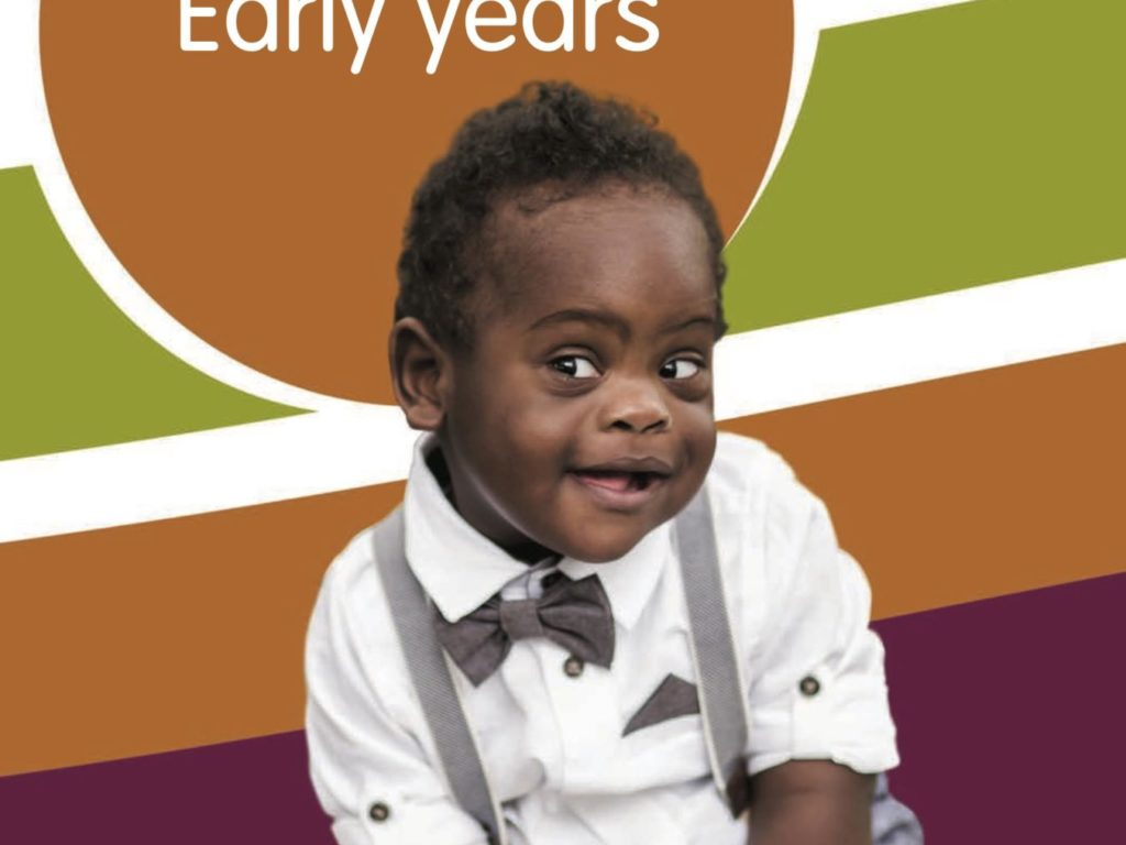 Cover of the Early Years guide, which shows a young child against a coloured back=drop and words Early Years