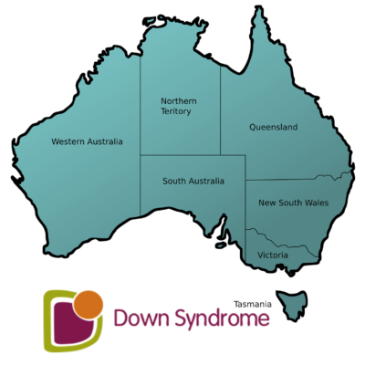 map of Australia with Down syndrome Australia logo